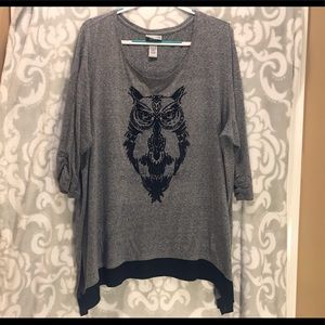 Owl Shirt 3/4 Sleeve sz 22/24